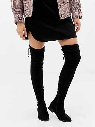 972a476f200 Asos Wide Fit Extra Wide Leg kaska flat studded thigh high boots - Black