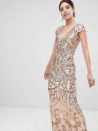 Bariano embellished maxi dress with cap sleeve in rose gold - Gold