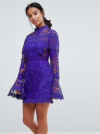 Asos Petite Lace Long Sleeve Mini Dress With Fluted Sleeves - Navy