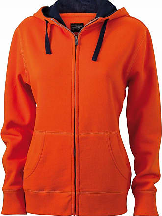 James & Nicholson JN962 Ladies Lifestyle Full Zip Hoodie Sweat Jacket Dark Orange/Navy Size XXL