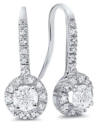 Pompeii3 SI/GH 1.00CT Pave Set Halo Diamond Womens Earrings 14K White Gold Antique Round