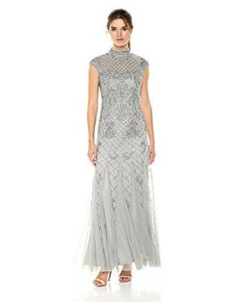 Adrianna Papell Womens Mockneck Beaded Long Dress, Blue Mist, 10