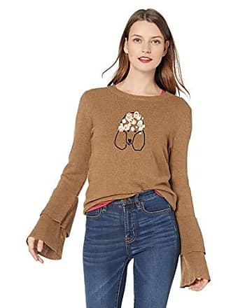 J.crew Womens Dog Embroidered Bell Sleeve Sweater, Camel Black/Pink, M