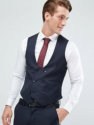Asos Chaleco de traje ajustado azul marino de 100% lana de ASOS DESIGN 8532aefe4c3