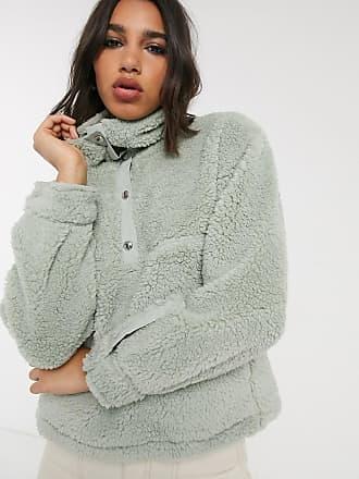 Bershka Fleece-Pullover in Minzgrün mit Druckknöpfen
