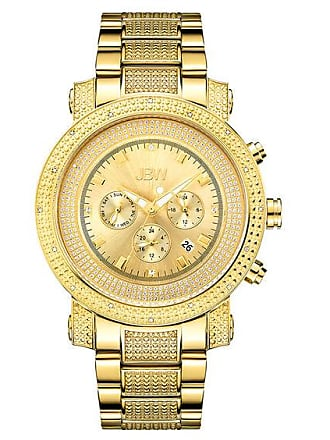 Zales Mens JBW Victor Chronograph 1/6 CT. T.w. Diamond and Crystal Accent 18K Gold Plate Watch (Model: Jb-8102-F)