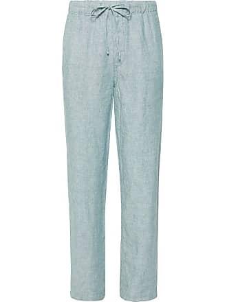 Onia Slub Linen Drawstring Trousers - Light blue