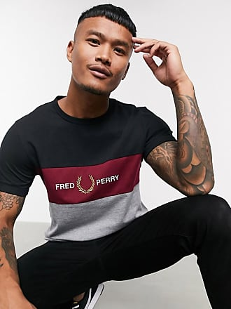 Fred Perry embroidered panel t-shirt in grey and black