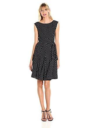 Tahari by ASL Womens Cap Sleeve Polka Dot Dress, Black/White 10