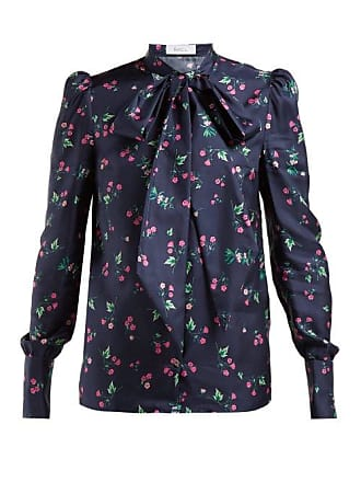 Racil Agata Pussy Bow Silk Blouse - Womens - Navy Multi