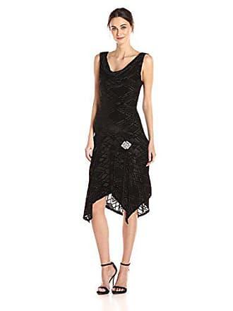 Unique Vintage Womens Velma Art Deco Dress, Black, S
