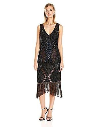 Unique Vintage Womens V Neck Beaded Flapper Dress, Black/Bronze, L