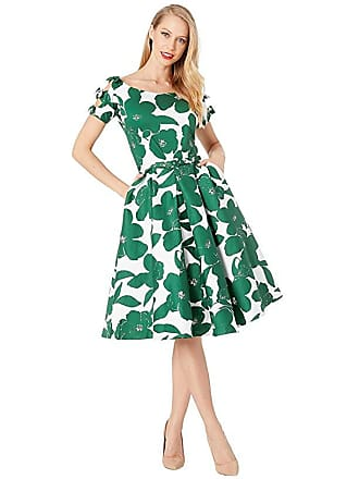 Unique Vintage 1950s Bow Sleeve Selma Swing Dress (White/Green Floral) Womens Dress