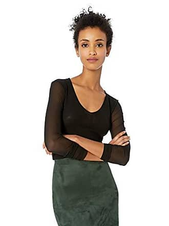 Only Hearts Womens Tulle Long Sleeve V Neck, Black, Petite/Small