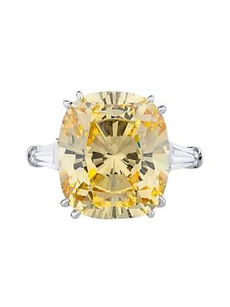 Fantasia 14kt White Gold 11.5ct Canary Cushion Cut Ring - UK I 1/2 - US 4 1/2 - EU 48 1/2