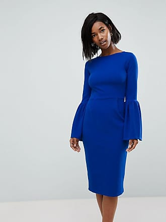 Club L Club L Pencil Dress With Extreme Frill Sleeve - Blue