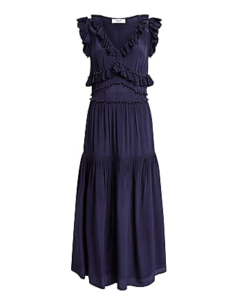 Sea New York Hemmingway V-neck Ruffled Midi Dress Navy