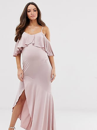 a4729159decc7 Flounce London Maternity satin Stretch midi dress with cold shoulder with  frill detail in mauve