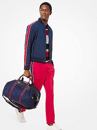 Michael Kors Mens Stripe-Sleeve Nylon Baseball Jacket