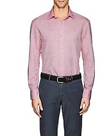PIATTELLI Mens Slub-Weave Linen-Cotton Shirt - Red Size XXL