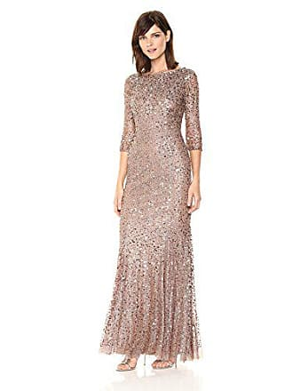 Adrianna Papell Womens Long Sleeve Beaded Dress, Antique Rosegold, 2