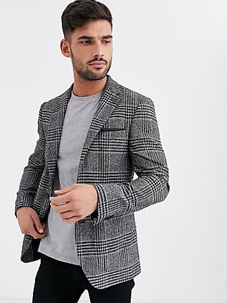 Burton Menswear blazer in black & white boucle check