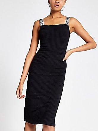 River Island Womens Black zebra print trim midi dress