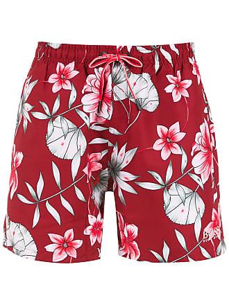 HUGO BOSS Bermuda de praia estampada - Vermelho