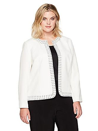 Kasper Womens Plus Size Stretch Crepe Flyaway Embellished Jacket, Vanilla ice, 16W