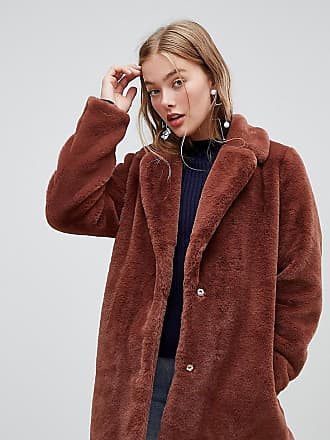 New Look faux fur coat in brown - Orange
