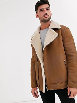 Topman biker jacket in tan-Brown