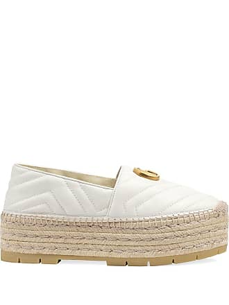 b5308a6c18a Gucci Chevron leather espadrille with Double G - White