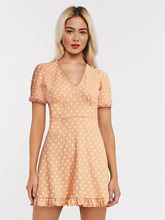 Miss Selfridge polka dot mini dress in pale peach-Orange
