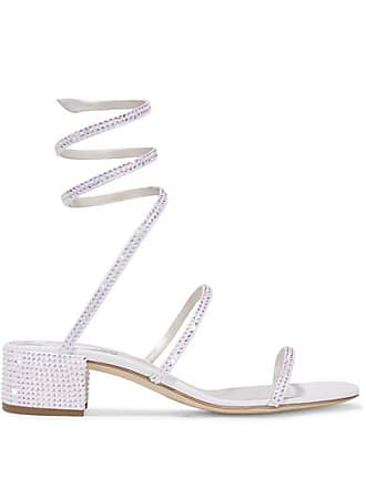 db5e9b0c479c13 Rene Caovilla Cleo Crystal-embellished Satin And Leather Sandals - White