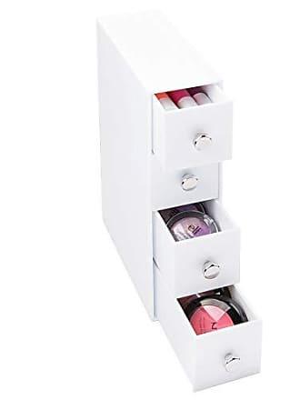 InterDesign 4 Plastic Vanity, Compact Narrow Storage Organization Drawers Set for Cosmetics, Dental Supplies, Hair Care, Bathroom, Dorm, Desk, Countertop, Office, 2.75 x 7 x 10, White
