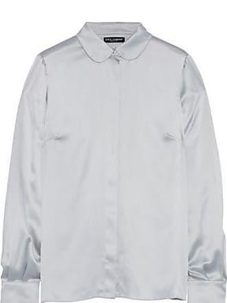 Dolce & Gabbana Dolce & Gabbana Woman Stretch-silk Satin Shirt Silver Size 36