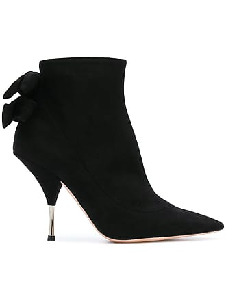 Rochas Ankle boot de camurça com laço - Preto