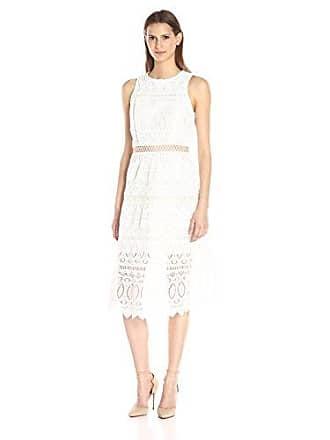 J.O.A. JOA Womens Embroidered A-Line Dress, White, Large