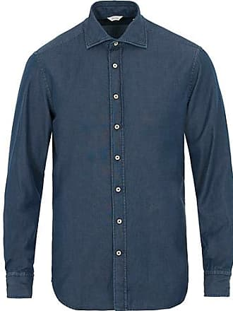 6112a5fb Stenströms Fitted Body Garment Washed Shirt Dark Denim