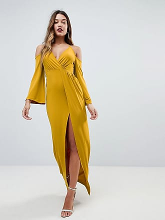 Asos ASOS Slinky Deep Plunge Cold Shoulder Kimono Maxi Dress - Yellow fa74fb710