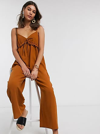 Asos Tall ASOS DESIGN Tall cami smock jumpsuit with frill in rust-Brown