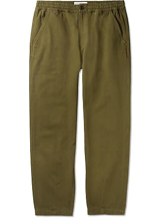 Universal Works Tapered Garment-dyed Cotton-canvas Drawstring Trousers - Green