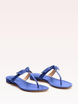 Alexandre Birman Clarita Naked Flat Sandal - 35.5 Blue Leather