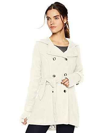 Jessica Simpson Womens Double Breasted Wool Fashion Coat, Cream, L