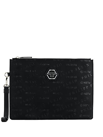 Philipp Plein Bolsa clutch com logo estampado - Preto