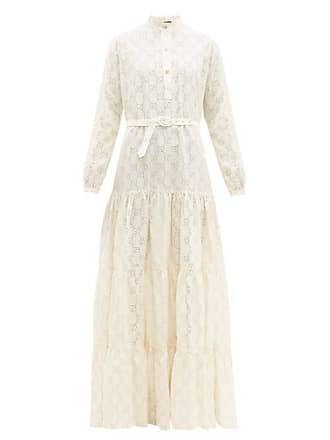 f219f68b1 Gucci Gg Broderie Anglaise Cotton Blend Maxi Dress - Womens - White Gold