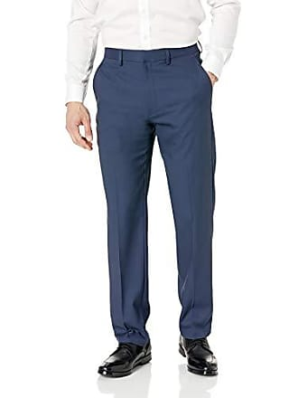 Haggar Mens Travel Performance Solid Gab Tailored Fit Suit Separate Pant, Blue, 38Wx32L