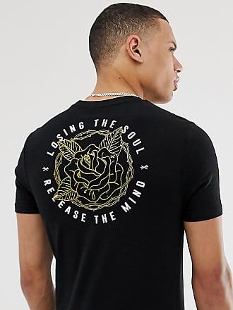 19c68f4468 Asos Tall - T-shirt skinny con stampa di rose disegnate foglia oro sul retro