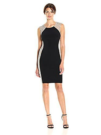 Xscape Womens Short Dress with Caviar Bead Sides, Black/Nude/Silver, 14