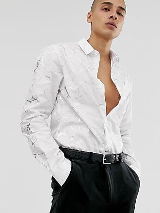 Twisted Tailor Camicia super skinny bianca con venature-Bianco